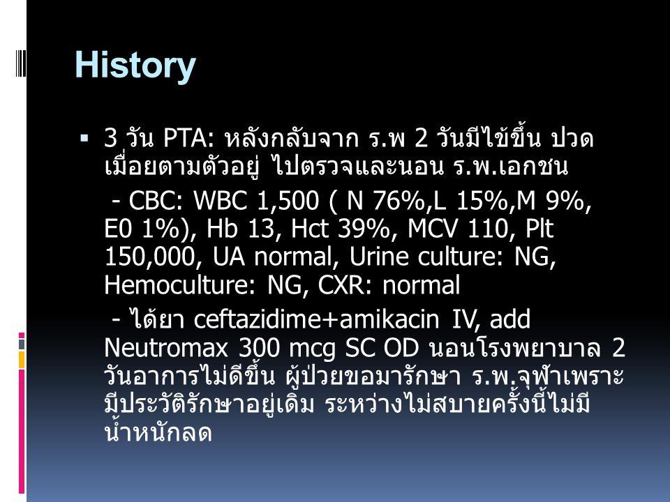 History  3 วัน PTA: หลังกลับจาก ร.พ 2 วันมีไข้ขึ้น ปวด เมื่อยตามตัวอยู่ ไปตรวจและนอน ร.พ.เอกชน - CBC: WBC 1,500 ( N 76%,L 15%,M 9%, E0 1%), Hb 13, Hc
