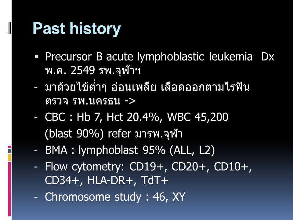 Past history  Precursor B acute lymphoblastic leukemia Dx พ.ค. 2549 รพ.จุฬาฯ - มาด้วยไข้ต่ำๆ อ่อนเพลีย เลือดออกตามไรฟัน ตรวจ รพ.นครธน -> - CBC : Hb 7