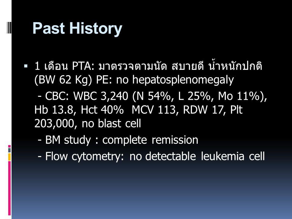 Past History  1 เดือน PTA: มาตรวจตามนัด สบายดี น้ำหนักปกติ (BW 62 Kg) PE: no hepatosplenomegaly - CBC: WBC 3,240 (N 54%, L 25%, Mo 11%), Hb 13.8, Hct