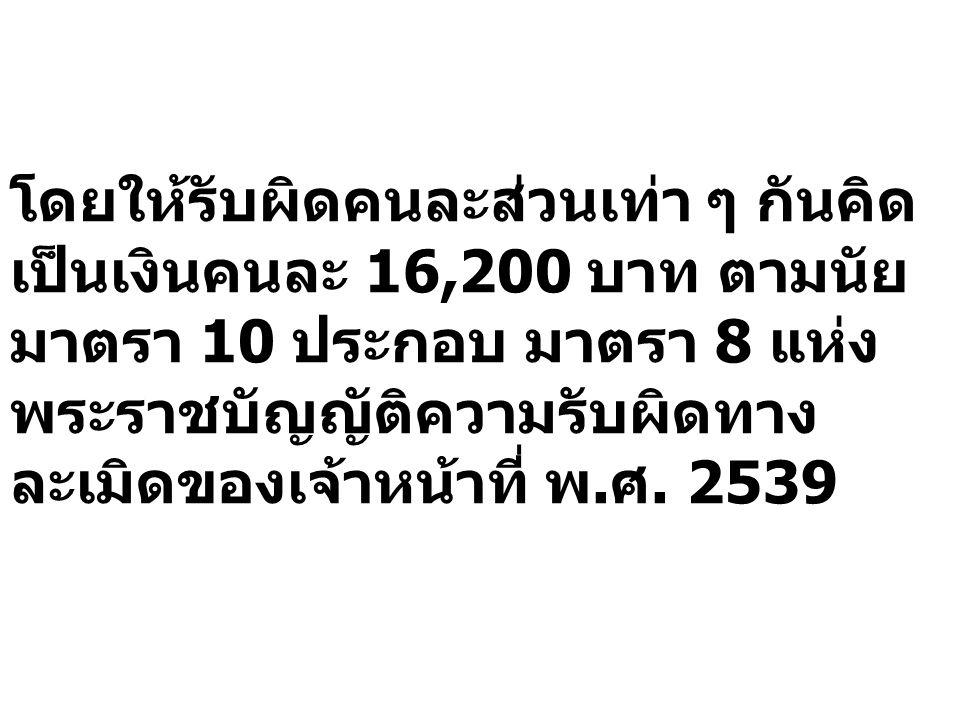 โดยให้รับผิดคนละส่วนเท่า ๆ กันคิด เป็นเงินคนละ 16,200 บาท ตามนัย มาตรา 10 ประกอบ มาตรา 8 แห่ง พระราชบัญญัติความรับผิดทาง ละเมิดของเจ้าหน้าที่ พ.ศ. 253