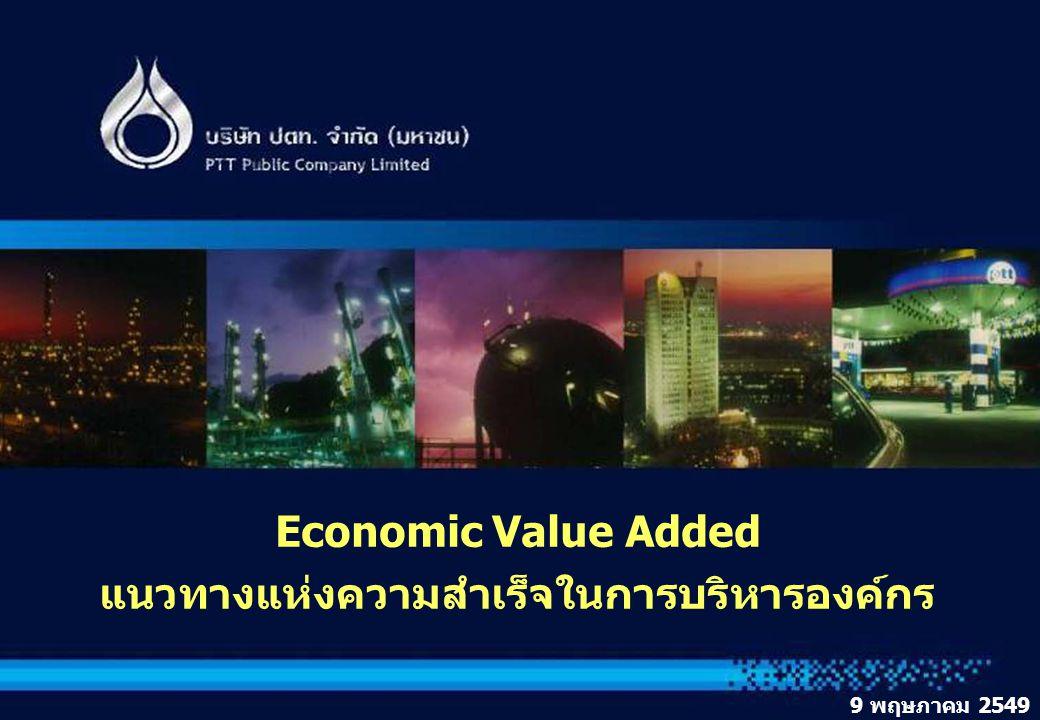 1 1 ผลการดำเนินงานของ ปตท. ปี 2545 7-8 กรกฎาคม 2546 Economic Value Added แนวทางแห่งความสำเร็จในการบริหารองค์กร 9 พฤษภาคม 2549