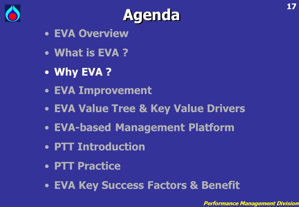 Performance Management Division 17 •EVA Overview •What is EVA ? •Why EVA ? •EVA Improvement •EVA Value Tree & Key Value Drivers •EVA-based Management