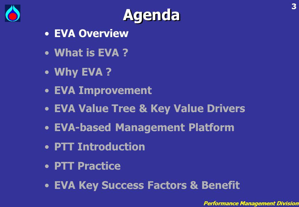 Performance Management Division 3 •EVA Overview •What is EVA ? •Why EVA ? •EVA Improvement •EVA Value Tree & Key Value Drivers •EVA-based Management P