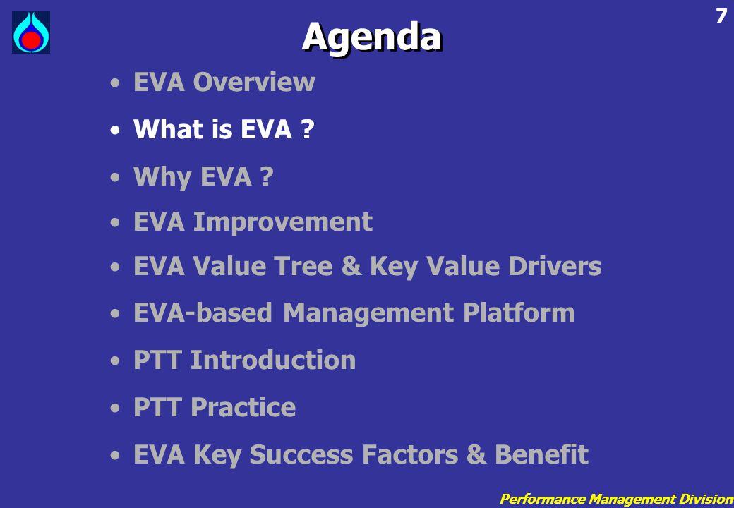 Performance Management Division 7 •EVA Overview •What is EVA ? •Why EVA ? •EVA Improvement •EVA Value Tree & Key Value Drivers •EVA-based Management P