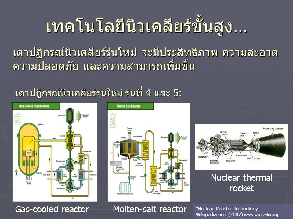 เทคโนโลยีนิวเคลียร์ขั้นสูง... เตาปฏิกรณ์นิวเคลียร์รุ่นใหม่ จะมีประสิทธิภาพ ความสะอาด ความปลอดภัย และความสามารถเพิ่มขึ้น Gas-cooled reactorMolten-salt