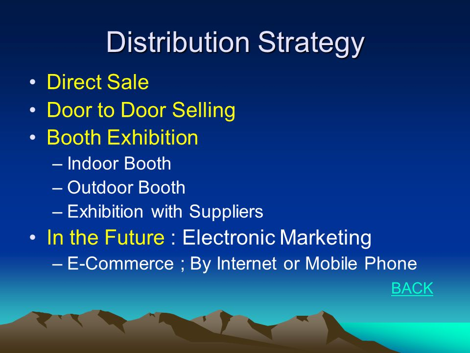 Distribution Strategy •Direct Sale •Door to Door Selling •Booth Exhibition –Indoor Booth –Outdoor Booth –Exhibition with Suppliers •In the Future : El