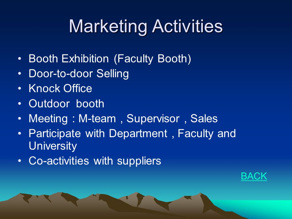 Marketing Activities •Booth Exhibition (Faculty Booth) •Door-to-door Selling •Knock Office •Outdoor booth •Meeting : M-team, Supervisor, Sales •Partic