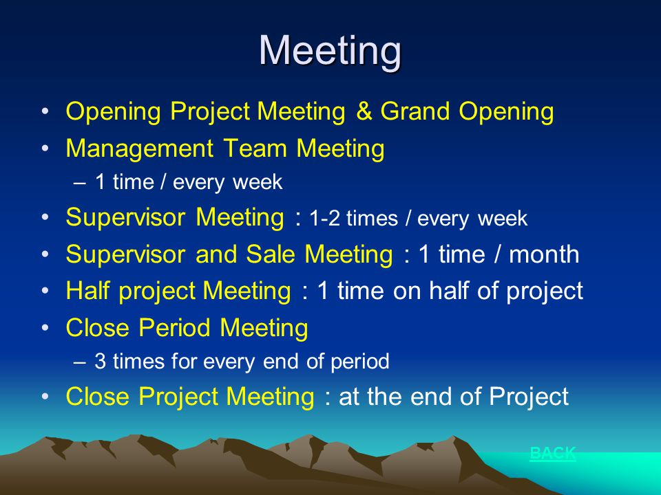Meeting •Opening Project Meeting & Grand Opening •Management Team Meeting –1 time / every week •Supervisor Meeting : 1-2 times / every week •Superviso