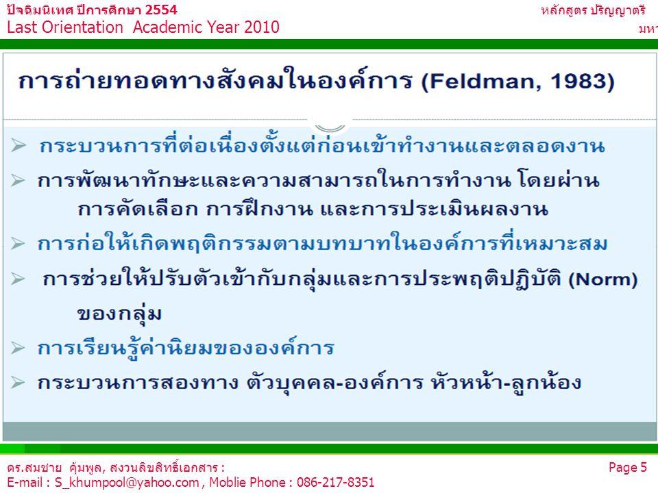 ดร.สมชาย คุ้มพูล, สงวนลิขสิทธิ์เอกสาร : Page 5 E-mail : S_khumpool@yahoo.com, Moblie Phone : 086-217-8351 ปัจฉิมนิเทศ ปีการศึกษา 2554 หลักสูตร ปริญญาต