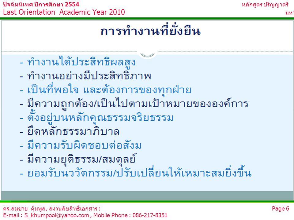 ดร.สมชาย คุ้มพูล, สงวนลิขสิทธิ์เอกสาร : Page 6 E-mail : S_khumpool@yahoo.com, Moblie Phone : 086-217-8351 ปัจฉิมนิเทศ ปีการศึกษา 2554 หลักสูตร ปริญญาต