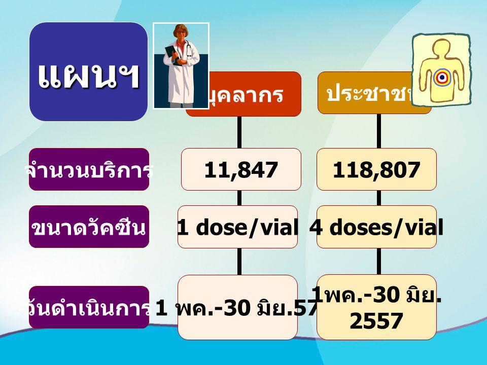 จำนวนบริการ วันดำเนินการ ขนาดวัคซีน บุคลากร 11,847 1 พค.-30 มิย.57 1 dose/vial ประชาชน 118,807 1 พค.-30 มิย. 2557 4 doses/vial แผนฯ