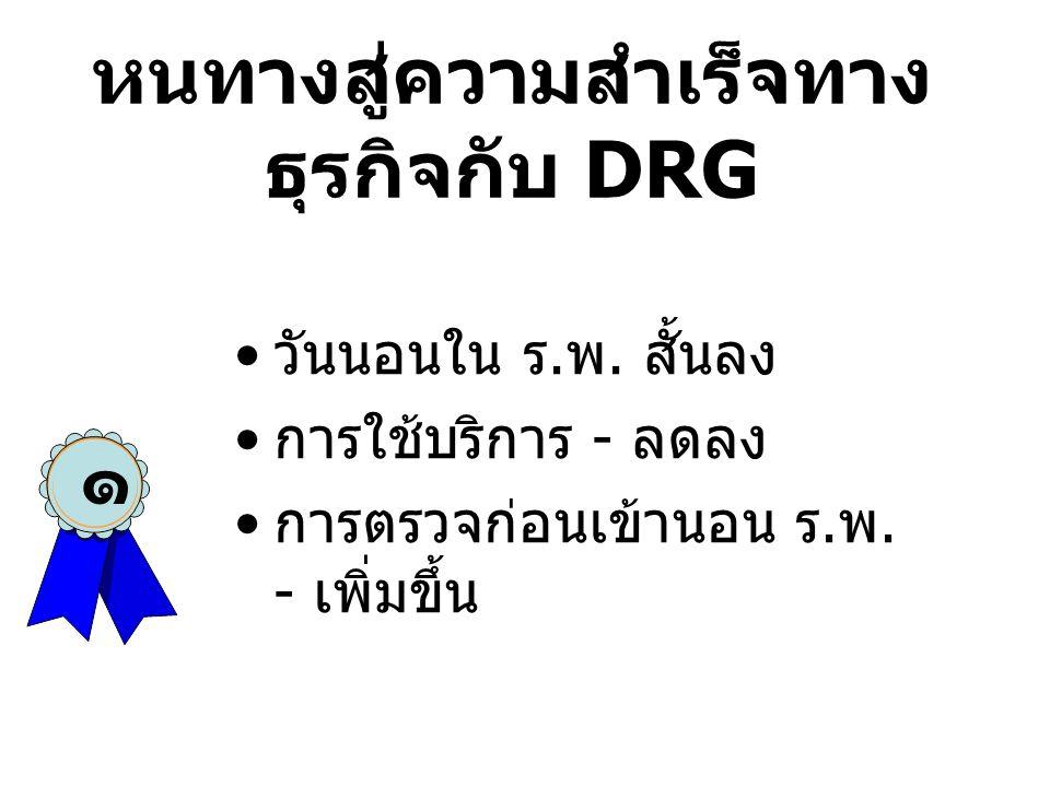 ลูกค้าของ DRG •ผู้วางแผนนโยบายสาธารณสุข - คาดการณ์งบประมาณ •ผู้บริหารโรงพยาบาล - ชี้ช่องทางธุรกิจ •แพทย์ - เพื่อเปรียบเทียบผลงาน •พยาบาล - ชี้ความต้องการชั่วโมงของ การพยาบาล •ผู้ตรวจรับรอง ร.พ.