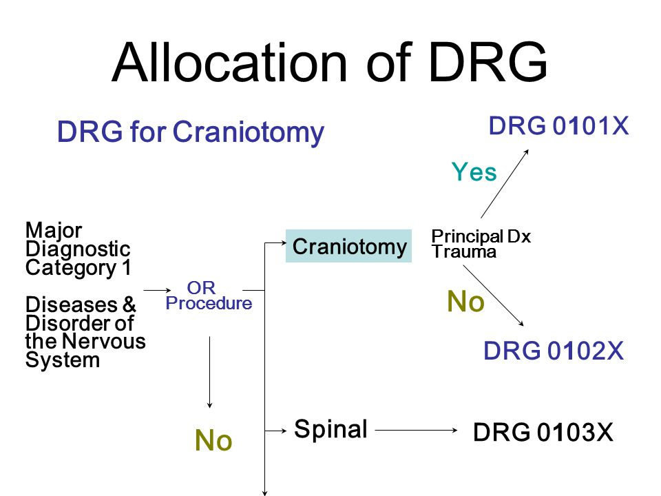 Allocation of DRG DRG for Craniotomy Major Diagnostic Category 1 Diseases & Disorder of the Nervous System OR Procedure Craniotomy DRG 0101X Principal Dx Trauma No Spinal No Yes DRG 0102X DRG 0103X