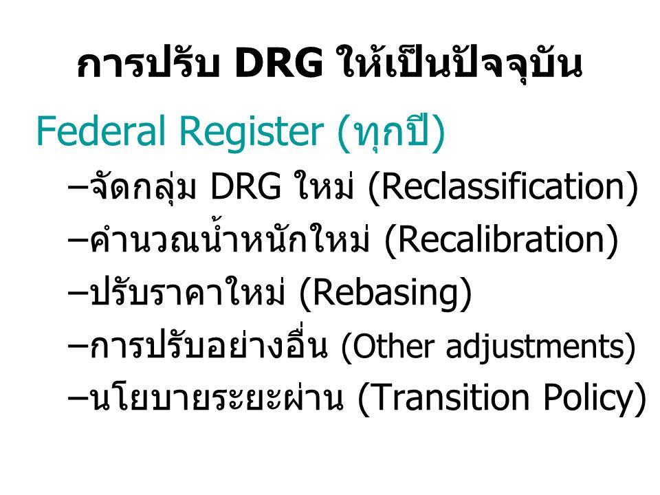 การปรับ DRG ให้เป็นปัจจุบัน Federal Register (ทุกปี) –จัดกลุ่ม DRG ใหม่ (Reclassification) –คำนวณน้ำหนักใหม่ (Recalibration) –ปรับราคาใหม่ (Rebasing) –การปรับอย่างอื่น (Other adjustments) –นโยบายระยะผ่าน (Transition Policy)