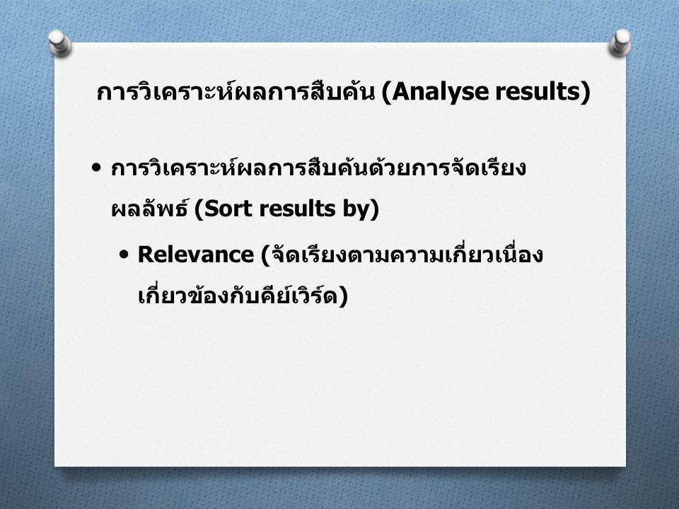  การวิเคราะห์ผลการสืบค้นด้วยการจัดเรียง ผลลัพธ์ (Sort results by)  Relevance (จัดเรียงตามความเกี่ยวเนื่อง เกี่ยวข้องกับคีย์เวิร์ด) การวิเคราะห์ผลการสืบค้น (Analyse results)