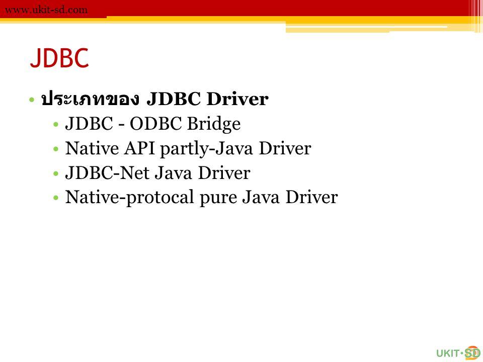JDBC www.ukit-sd.com • ประเภทของ JDBC Driver •JDBC - ODBC Bridge •Native API partly-Java Driver •JDBC-Net Java Driver •Native-protocal pure Java Driver