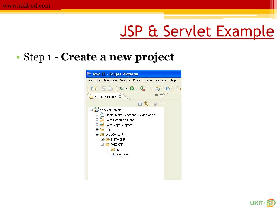 JSP & Servlet Example www.ukit-sd.com •Step 1 - Create a new project
