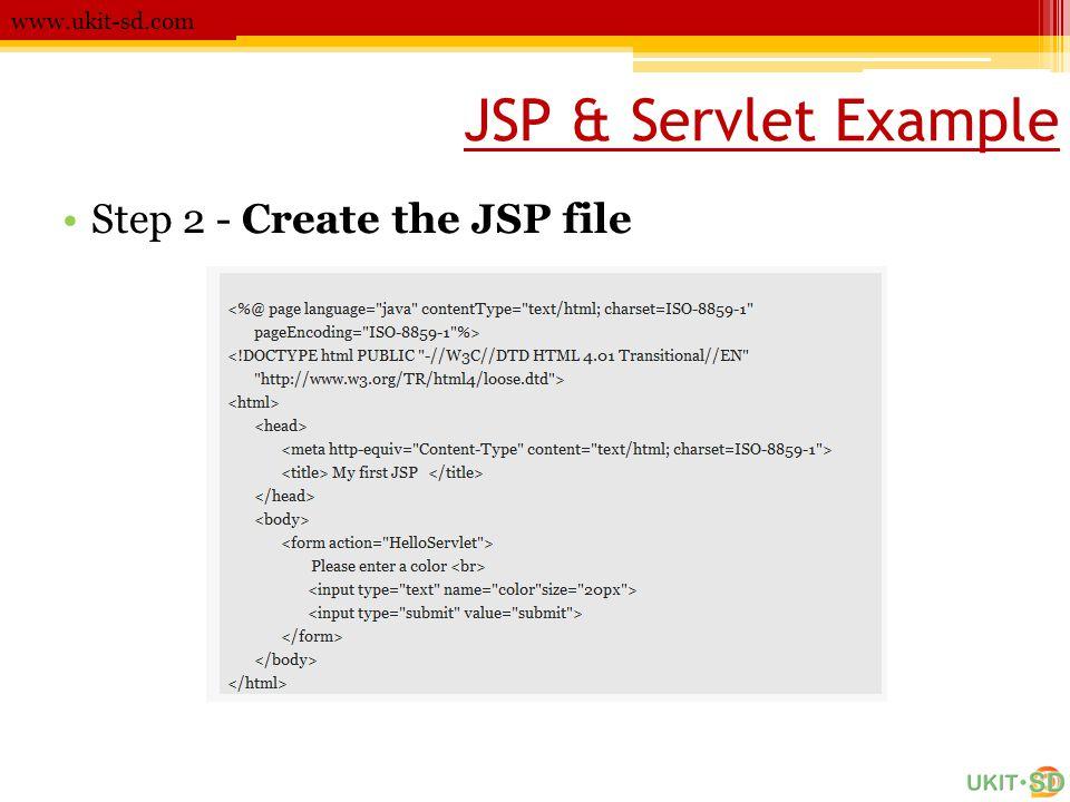 JSP & Servlet Example www.ukit-sd.com •Step 2 - Create the JSP file