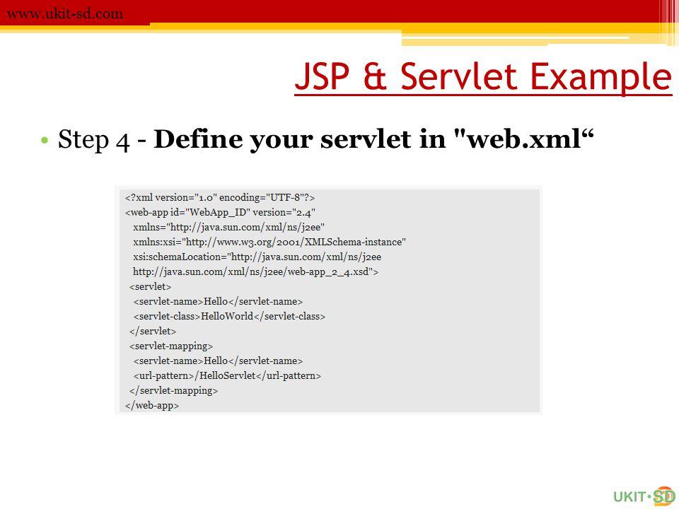 JSP & Servlet Example www.ukit-sd.com •Step 4 - Define your servlet in web.xml