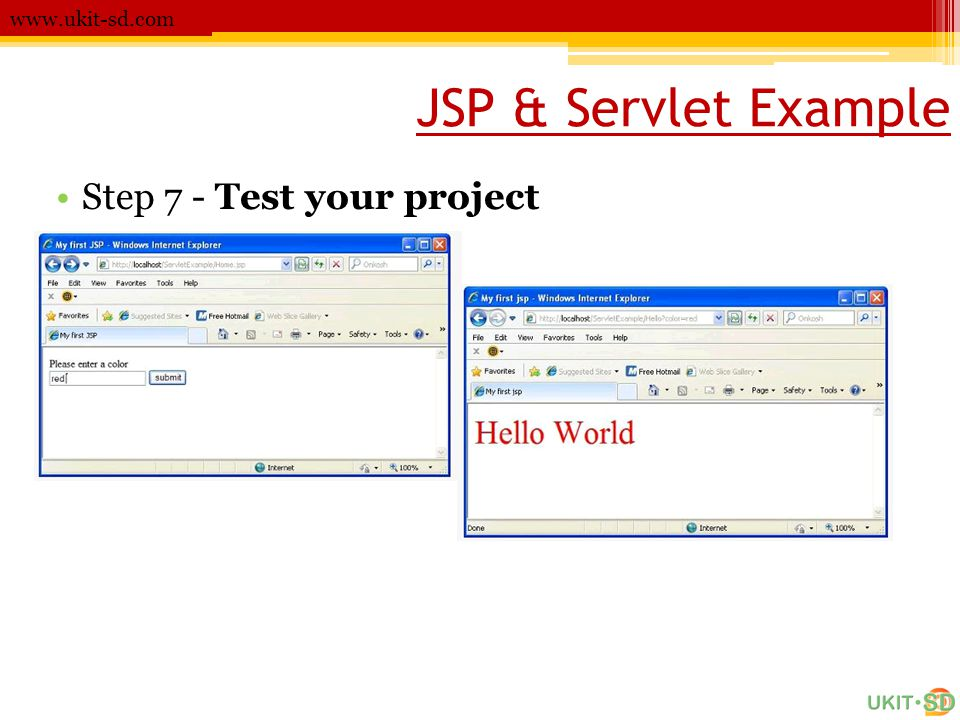 JSP & Servlet Example www.ukit-sd.com •Step 7 - Test your project