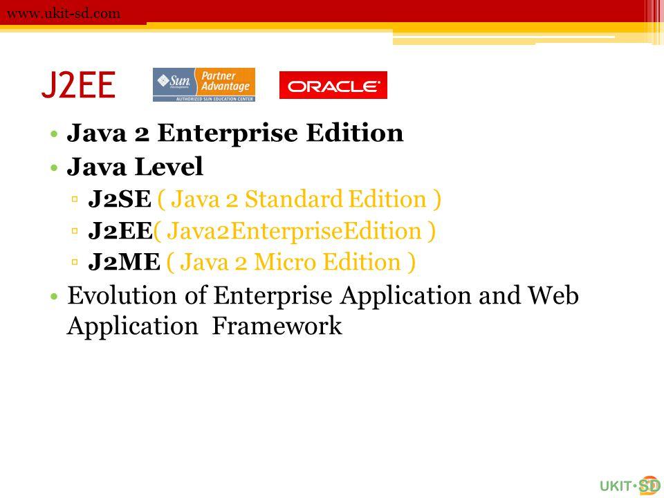 J2EE •Java 2 Enterprise Edition •Java Level ▫J2SE ( Java 2 Standard Edition ) ▫J2EE( Java2EnterpriseEdition ) ▫J2ME ( Java 2 Micro Edition ) •Evolution of Enterprise Application and Web Application Framework www.ukit-sd.com