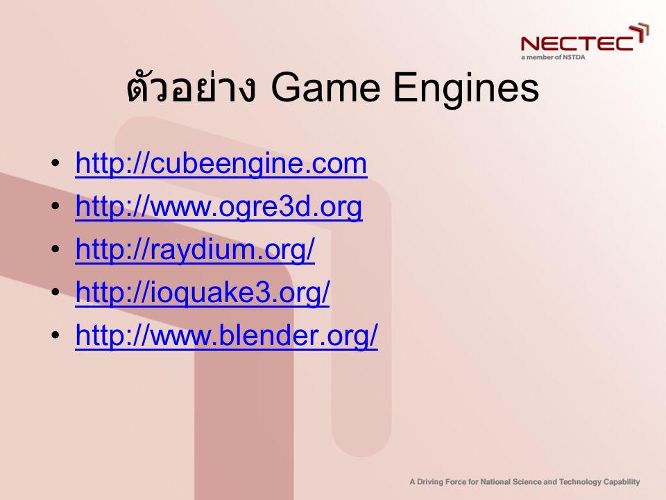 ตัวอย่าง Game Engines •http://cubeengine.comhttp://cubeengine.com •http://www.ogre3d.orghttp://www.ogre3d.org •http://raydium.org/http://raydium.org/