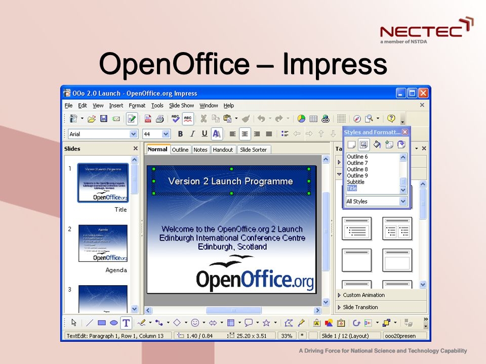 OpenOffice – Impress