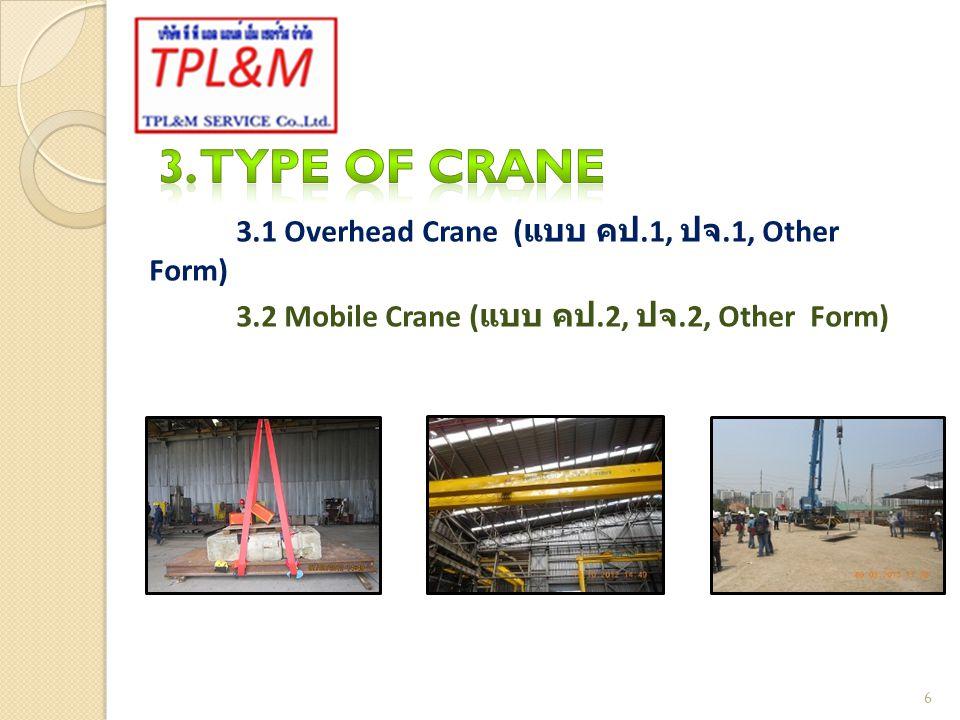 3.1 ปั้นจั่นชนิดอยู่กับที่ (Overhead Crane) หมายถึง ปั้นจั่นที่ประกอบด้วยอุปกรณ์ควบคุม และเครื่องต้นกำลังอยู่ในตัว ซึ่งติดตั้งอยู่บนหอสูง ขา ตั้ง หรือบนล้อเลื่อน 7