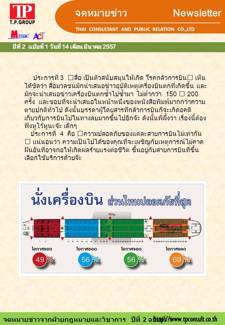 จดหมายข่าว Newsletter THAI CONSULTANT AND PUBLIC RELATION CO.,LTD จดหมายข่าวจากฝ่ายกฎหมายและวิชาการ ปีที่ 2 ฉบับที่ 1 ปีที่ 2 ฉบับที่ 1 วันที่ 14 เดือ
