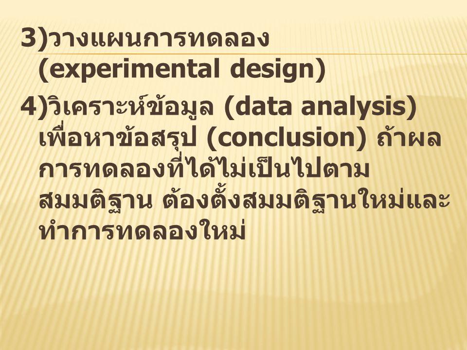 3) วางแผนการทดลอง (experimental design) 4) วิเคราะห์ข้อมูล (data analysis) เพื่อหาข้อสรุป (conclusion) ถ้าผล การทดลองที่ได้ไม่เป็นไปตาม สมมติฐาน ต้องต
