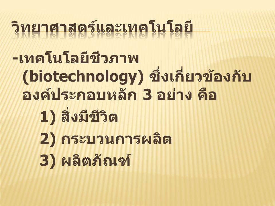 - เทคโนโลยีชีวภาพ (biotechnology) ซึ่งเกี่ยวข้องกับ องค์ประกอบหลัก 3 อย่าง คือ 1) สิ่งมีชีวิต 2) กระบวนการผลิต 3) ผลิตภัณฑ์