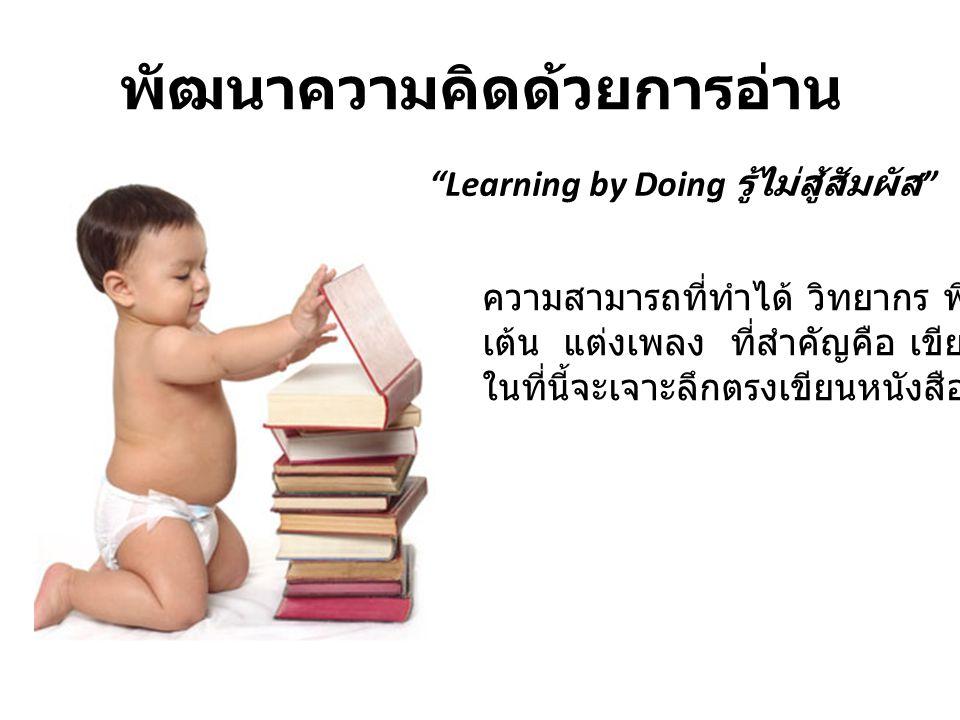 """พัฒนาความคิดด้วยการอ่าน """"Learning by Doing รู้ไม่สู้สัมผัส """" ความสามารถที่ทำได้ วิทยากร พิธีกร ร้องเพลง เต้น แต่งเพลง ที่สำคัญคือ เขียนหนังสือ ในที่นี"""
