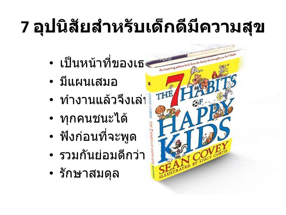 7 อุปนิสัยสำหรับเด็กดีมีความสุข • เป็นหน้าที่ของเธอ • มีแผนเสมอ • ทำงานแล้วจึงเล่น • ทุกคนชนะได้ • ฟังก่อนที่จะพูด • รวมกันย่อมดีกว่า • รักษาสมดุล