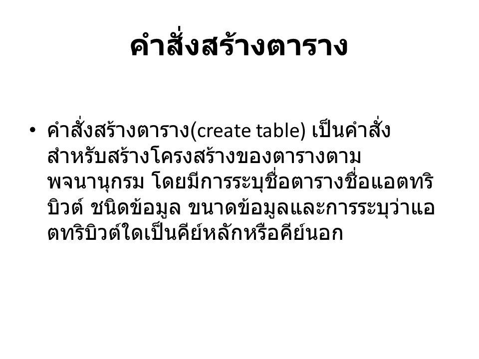 รูปแบบ • • CREATE TABLE table_name ( • Column_name1 data_typecolumn_attribute, • Column_name2data_typecolumn_attribute, • Primary key (column_name) • Foreign key (column_name)); • Table_name คือ ชื่อของตารางที่ต้องการสร้าง • Column_name1 คือ ชื่อของแอตทริบิวต์ที่ 1 • Column_name2 คือ ชื่อของแอตทริบิวต์ที่ 2 • data_type คือ ชนิดของข้อมูล • column_attribute คือ คุณสมบัติของแอตทริบิวต์