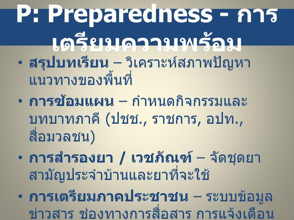P: Prevention - การ ป้องกัน • ระบบเฝ้าระวัง – ครอบคลุมพื้นที่เสี่ยง, ตามระบบ / โครงสร้างราชการและท้องถิ่นที่ มีอยู่แล้ว • ข้อมูล – ปริมาณน้ำ, สภาพอากาศ, ความ เสี่ยง และความเคลื่อนที่เกี่ยวข้อง • การสื่อสารและการแจ้งเตือนภัย – สวท., โทรศัพท์, วิทยุชุมชน, หอกระจาย ข่าว • แต่งตั้งคณะทำงาน - กำหนดบทบาท หน้าที่ของแต่ละฝ่ายที่เกี่ยวข้อง