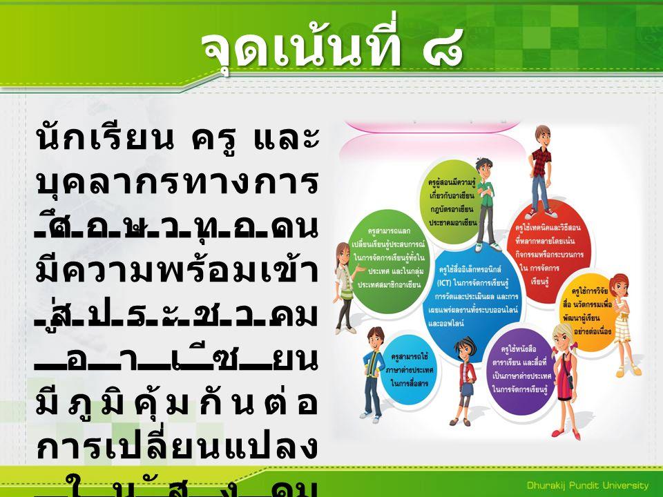 จุดเน้นที่ ๘ นักเรียน ครู และ บุคลากรทางการ ศึกษาทุกคน มีความพร้อมเข้า สู่ประชาคม อาเซียน มีภูมิคุ้มกันต่อ การเปลี่ยนแปลง ในสังคม พหุวัฒนธรรม (ASEAN C