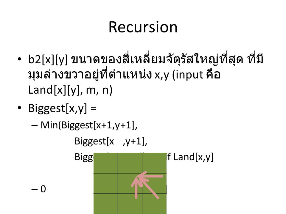 Recursion • b2[x][y] ขนาดของสี่เหลี่ยมจัตุรัสใหญ่ที่สุด ที่มี มุมล่างขวาอยู่ที่ตำแหน่ง x,y (input คือ Land[x][y], m, n) • Biggest[x,y] = – Min(Biggest[x+1,y+1], Biggest[x,y+1], Biggest[x+1,y ]) + 1 if Land[x,y] – 0if not land[x,y]