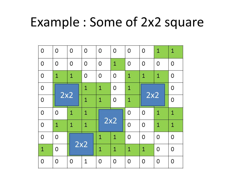 Example : Some of 2x2 square 0000000011 0000010000 0110001110 0111101110 0111101110 0011110011 0111110011 0011110000 1011111100 0001000000 2x2