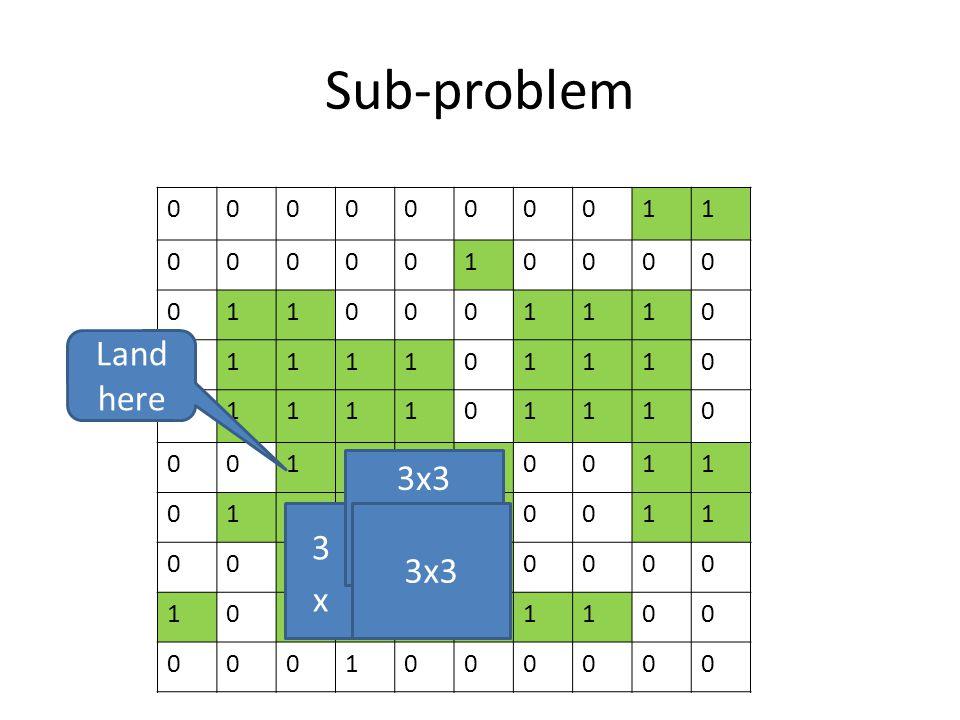 Sub-problem 0000000011 0000010000 0110001110 0111101110 0111101110 0011110011 0111110011 0011110000 1011111100 0001000000 3x3 Land here