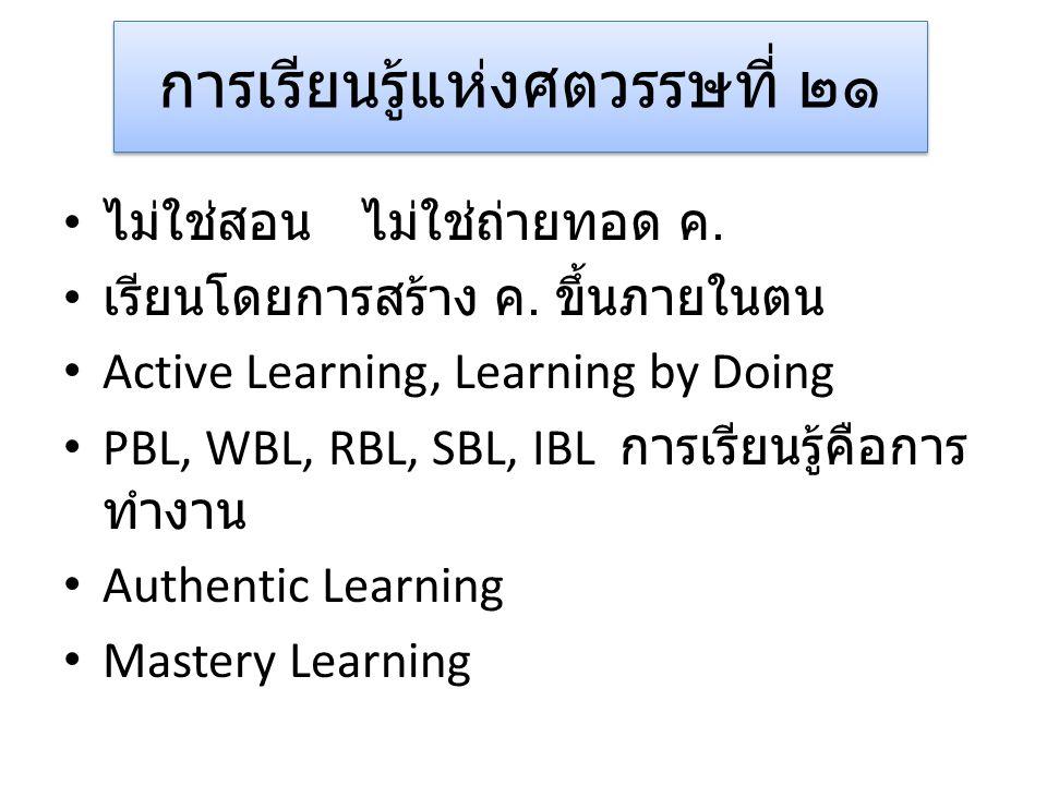 การเรียนรู้แห่งศตวรรษที่ ๒๑ • ไม่ใช่สอน ไม่ใช่ถ่ายทอด ค. • เรียนโดยการสร้าง ค. ขึ้นภายในตน • Active Learning, Learning by Doing • PBL, WBL, RBL, SBL,