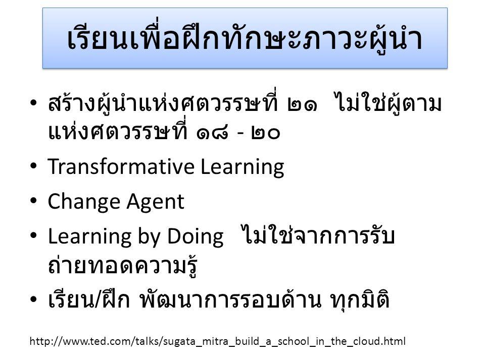 เรียนเพื่อฝึกทักษะภาวะผู้นำ • สร้างผู้นำแห่งศตวรรษที่ ๒๑ ไม่ใช่ผู้ตาม แห่งศตวรรษที่ ๑๘ - ๒๐ • Transformative Learning • Change Agent • Learning by Doi