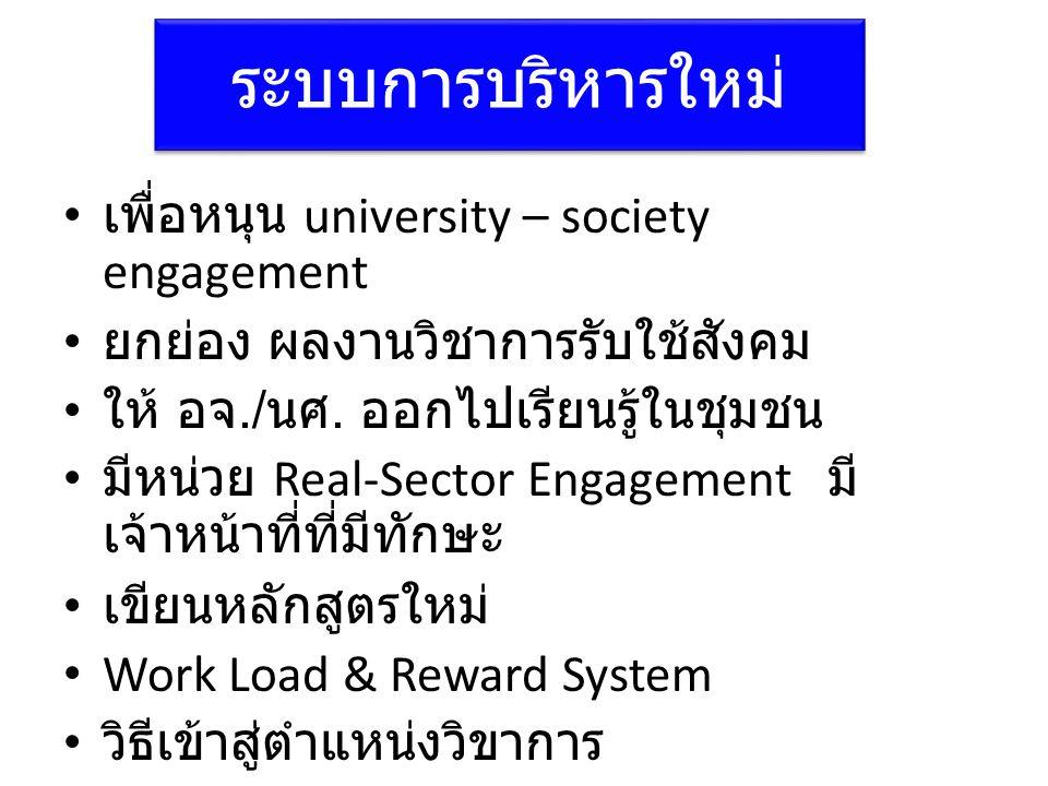 ระบบการบริหารใหม่ • เพื่อหนุน university – society engagement • ยกย่อง ผลงานวิชาการรับใช้สังคม • ให้ อจ./ นศ. ออกไปเรียนรู้ในชุมชน • มีหน่วย Real-Sect