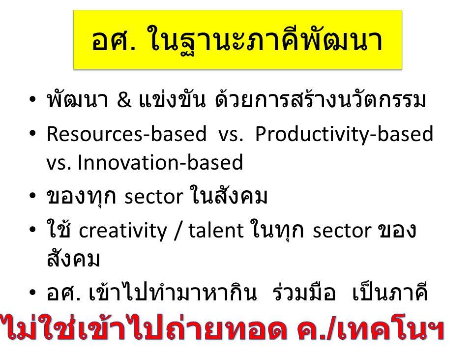 อศ. ในฐานะภาคีพัฒนา • พัฒนา & แข่งขัน ด้วยการสร้างนวัตกรรม • Resources-based vs. Productivity-based vs. Innovation-based • ของทุก sector ในสังคม • ใช้
