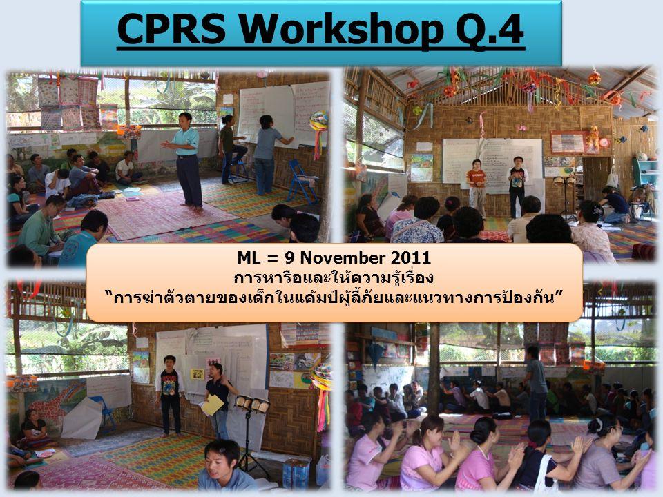 CPRS Workshop Q.4 ML = 9 November 2011 การหารือและให้ความรู้เรื่อง การฆ่าตัวตายของเด็กในแค้มป์ผู้ลี้ภัยและแนวทางการป้องกัน ML = 9 November 2011 การหารือและให้ความรู้เรื่อง การฆ่าตัวตายของเด็กในแค้มป์ผู้ลี้ภัยและแนวทางการป้องกัน