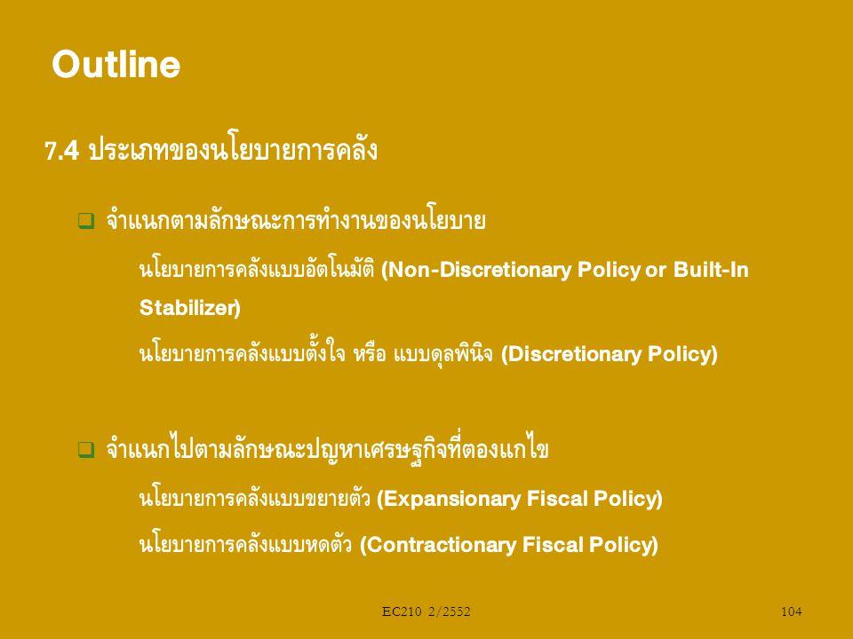 EC210 2/2552 7.4 ประเภทของนโยบายการคลัง  จำแนกตามลักษณะการทำงานของนโยบาย  นโยบายการคลังแบบอัตโนมัติ (Non-Discretionary Policy or Built-In Stabilizer