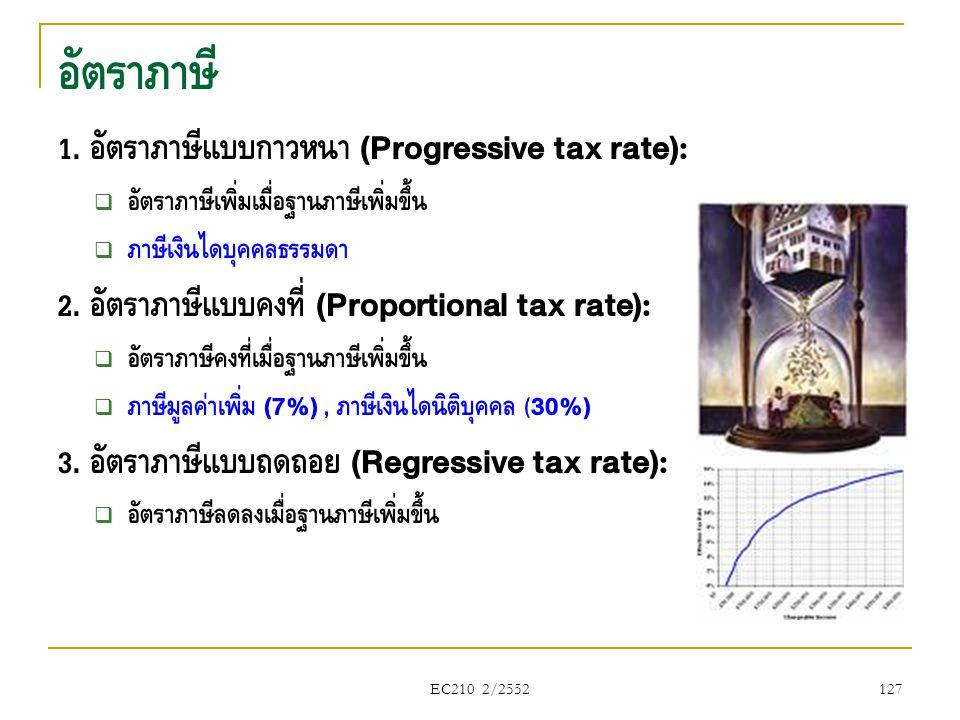 EC210 2/2552 1. อัตราภาษีแบบก้าวหน้า (Progressive tax rate):  อัตราภาษีเพิ่มเมื่อฐานภาษีเพิ่มขึ้น  ภาษีเงินได้บุคคลธรรมดา 2. อัตราภาษีแบบคงที่ (Prop