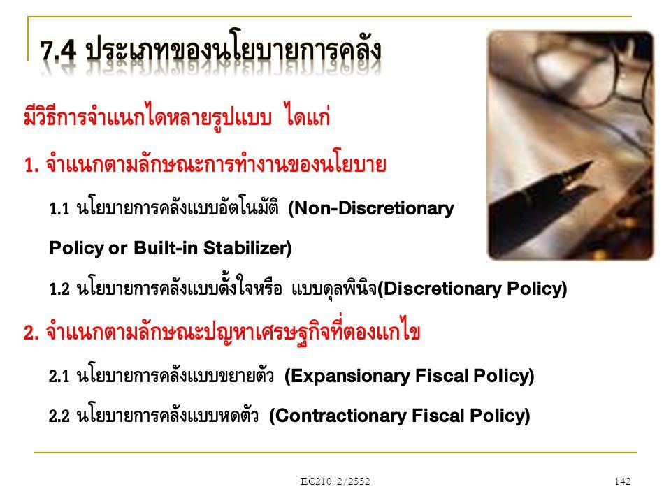 EC210 2/2552 มีวิธีการจำแนกได้หลายรูปแบบ ได้แก่ 1. จำแนกตามลักษณะการทำงานของนโยบาย 1.1 นโยบายการคลังแบบอัตโนมัติ (Non-Discretionary Policy or Built-in