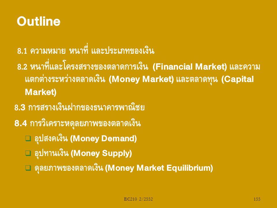 EC210 2/2552 8.1 ความหมาย หน้าที่ และประเภทของเงิน 8.2 หน้าที่และโครงสร้างของตลาดการเงิน (Financial Market) และความ แตกต่างระหว่างตลาดเงิน (Money Mark