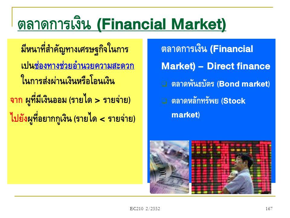 EC210 2/2552 ตลาดการเงิน (Financial Market) มีหน้าที่สำคัญทางเศรษฐกิจในการ เป็นช่องทางช่วยอำนวยความสะดวก ในการส่งผ่านเงินหรือโอนเงิน จาก ผู้ที่มีเงินอ