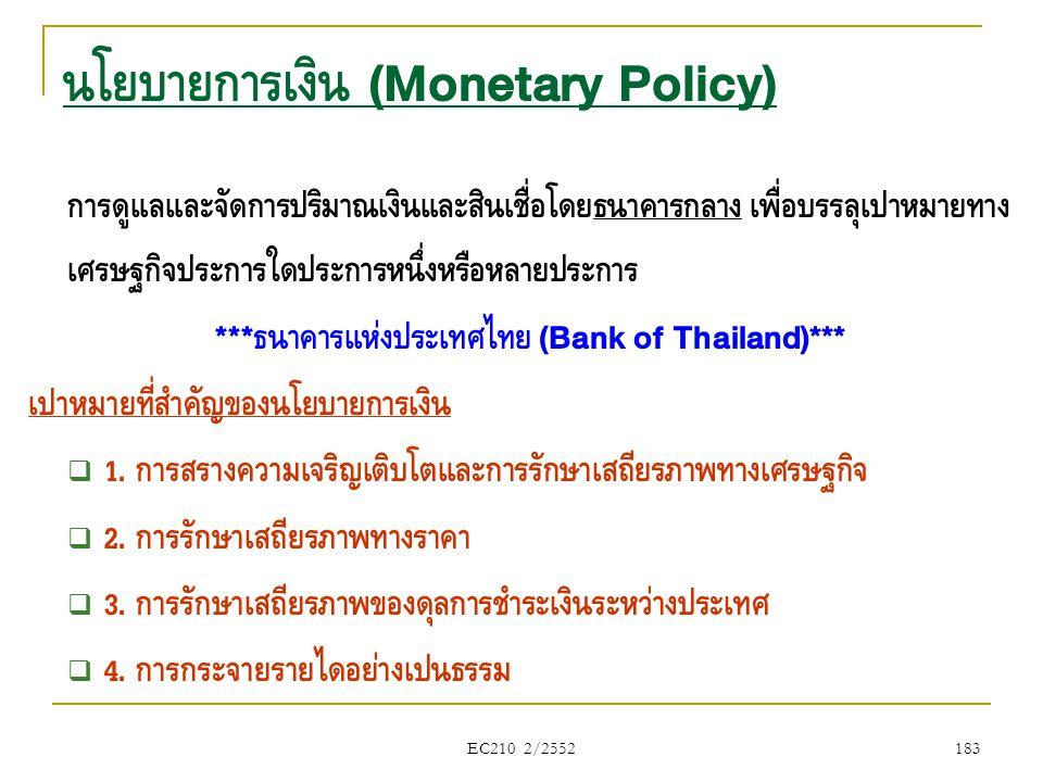 EC210 2/2552 นโยบายการเงิน (Monetary Policy) การดูแลและจัดการปริมาณเงินและสินเชื่อโดยธนาคารกลาง เพื่อบรรลุเป้าหมายทาง เศรษฐกิจประการใดประการหนึ่งหรือห